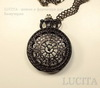 """Часы на цепочке """"Паутинка"""" (цвет - черный никель) 55х40х14 мм ()"""