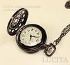 """Часы на цепочке """"Паутинка"""" (цвет - черный никель) 55х40х14 мм"""