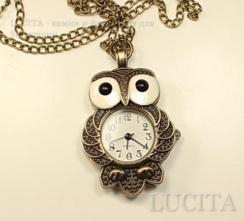 """Часы на цепочке """"Сова"""" (цвет - античная бронза) 46х31х9 мм ()"""