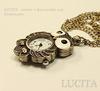 """Часы на цепочке """"Сова"""" (цвет - античная бронза) 46х31х9 мм"""