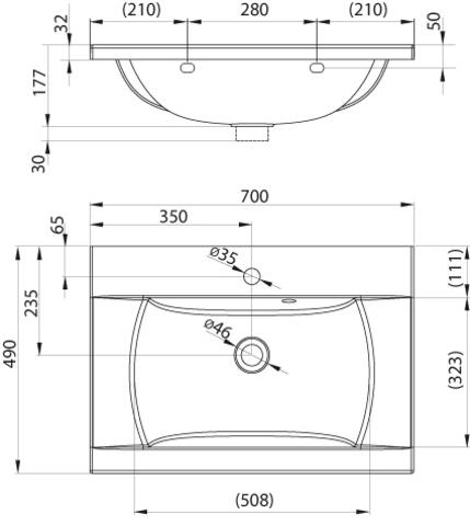 Ravak CLASSIC умывальник 700мм (XJD01170000)