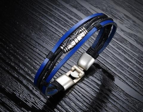 Стильный и красивый синий мужской браслет из натуральной кожи и металла SteelMan mn023