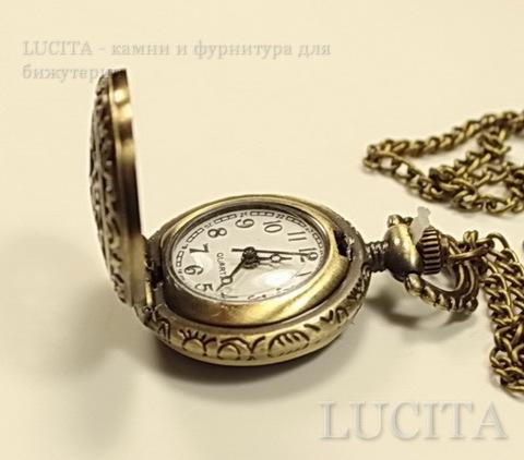 """Часы на цепочке """"Звезды"""" (цвет - античная бронза) 40х27х12 мм ()"""