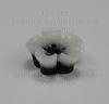 Кабошон акриловый черный двухцветный цветок,  13х5 мм