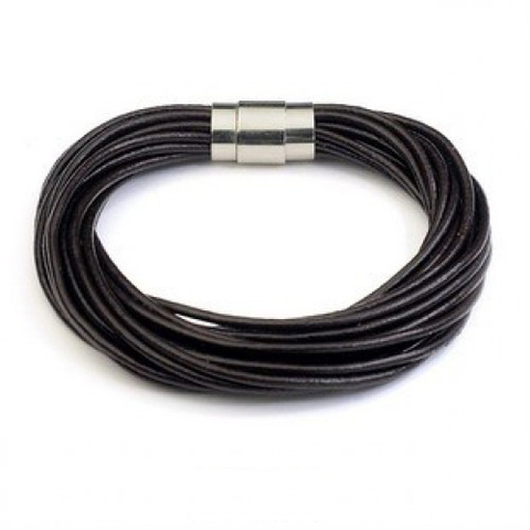 Стильный мужской браслет из кожаных шнуров с магнитным замком Steelman mn00419