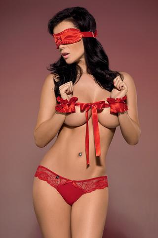 Красный эротический польский открытый комплект Obsessive для секса с наручниками с повязкой на глаза