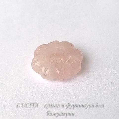 "Бусина Кварц, ""Цветок"", цвет - розовый, 18х6,5 мм ()"