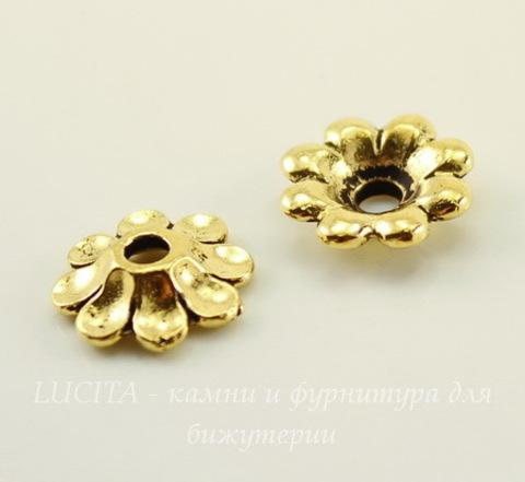 """Элемент под заклепку TierraCast """"Цветок"""" (цвет-античное золото) 11 мм"""