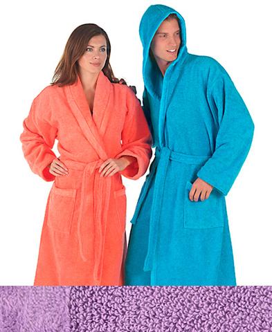 Элитный халат махровый Fyber сиреневый с капюшоном от Carrara