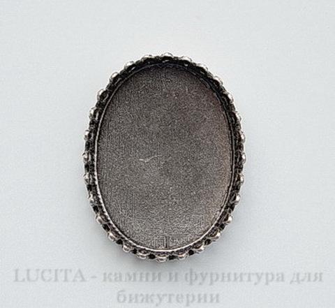 Сеттинг - основа для камеи или кабошона с зубчатым краем 25х18 мм (оксид серебра) ()