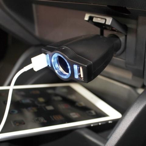Разветвитель + 2 USB (4.8A) YAC PZ-677