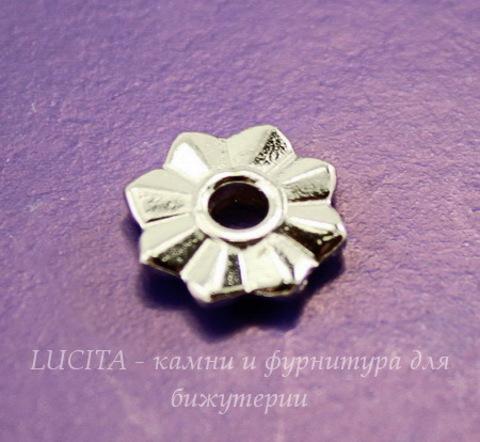 """Элемент под заклепку TierraCast """"8 Point"""" 10 мм (цвет-платина)"""