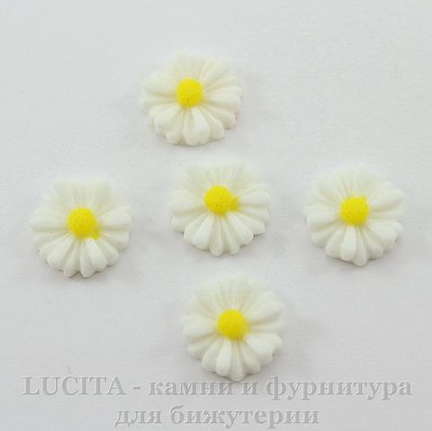 """Кабошон акриловый """"Ромашка"""", цвет - белый, 13 мм, 5 штук"""