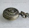 Часы на цепочке с розой (цвет - античная бронза) 36х27Х12 мм