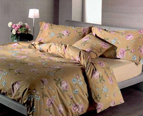 Постельное белье 2 спальное евро макси Caleffi Rose коричневое