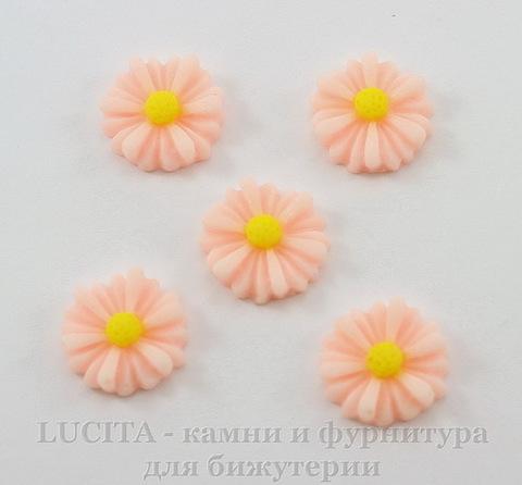 """Кабошон акриловый """"Ромашка"""", цвет - розовый, 13 мм, 5 штук"""
