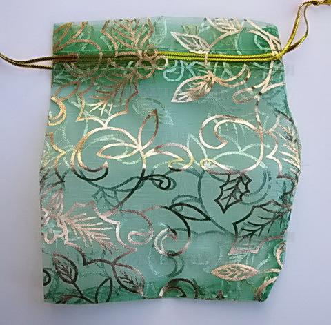 """Подарочный мешочек из органзы """"Листья"""" зеленый с золотым узором, 12х10 см ()"""