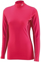 Термобелье Рубашка женская Mizuno Mid Weight High Neck малиновая