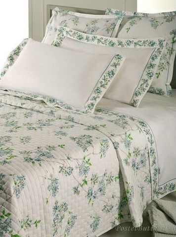 Постельное белье 1.5 спальное Mirabello Fiori Ciliegio голубое