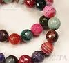 """Бусина Агат, шарик с огранкой, """"Красно-зеленый микс с полосками"""", 10 мм, нить ()"""