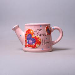 Лейка кер. розовая с сердцем Т 14346-3