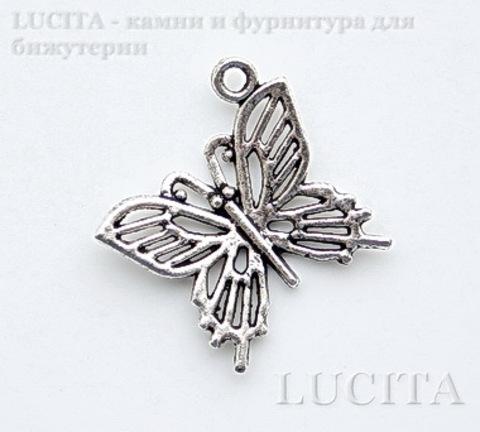 """Подвеска """"Бабочка"""" филигранная (цвет - античное серебро) 20х20 мм"""