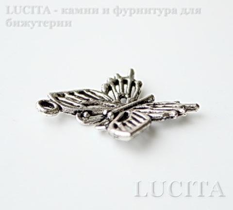 """Подвеска """"Бабочка"""" филигранная 20х20 мм (цвет - античное серебро)"""