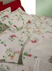 Постельное белье 1.5 спальное Mirabello Hibiscus белое с красными цветами