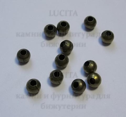 Кримпы - зажимные бусины (цвет - античная бронза) 4 мм, 2 гр., около 20-23 шт