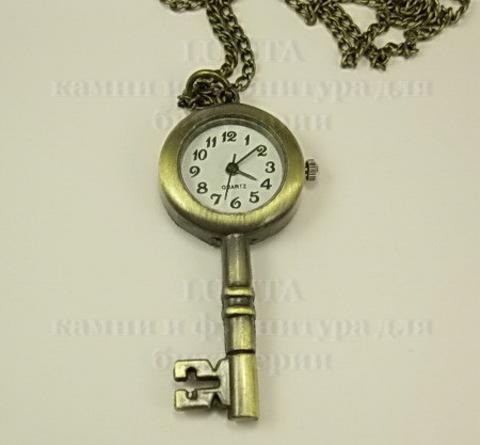 """Часы на цепочке """"Ключик"""" (цвет - античная бронза) 55х26х7 мм(лев)"""