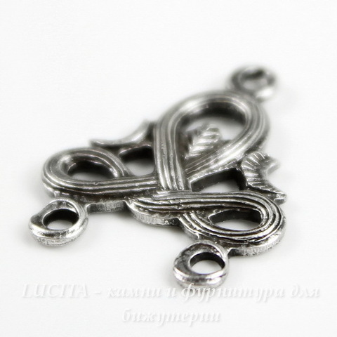 Винтажный декоративный элемент - коннектор (1-2) 18х15 мм (оксид серебра)