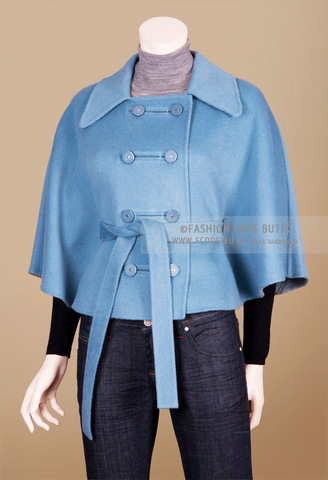 Max Mara голубое пончо с французской застежкой Blue French Poncho
