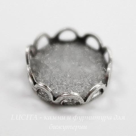 Сеттинг - основа для камеи или кабошона 10х8 мм (оксид серебра) ()