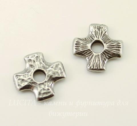 "Элемент под заклепку TierraCast ""Крест"" (цвет-античное серебро) 11х11 мм"