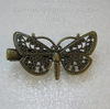 Основа для заколки 43х25 мм с филигранной бабочкой (цвет - античная бронза)