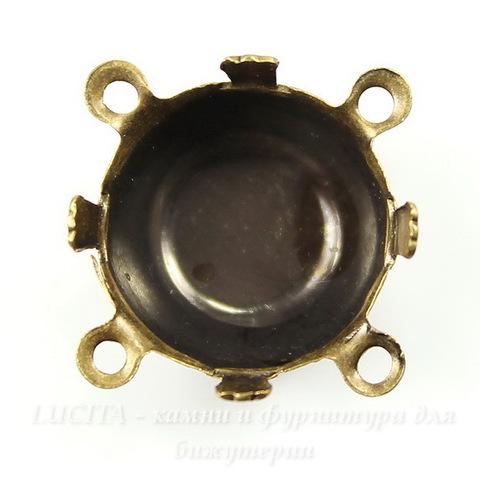 Сеттинг - основа - коннектор (2-2) для страза 13 мм (оксид латуни)