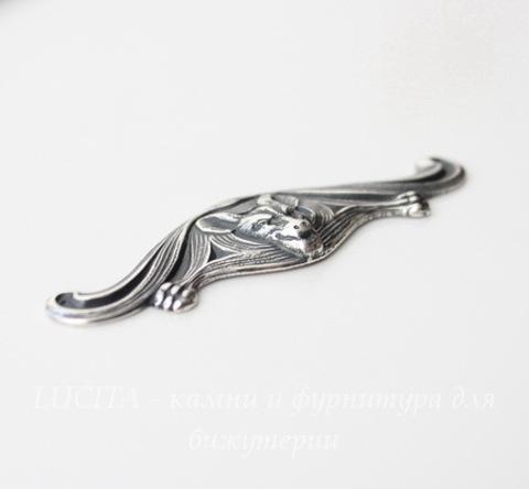 """Винтажный декоративный элемент - штамп """"Летучая мышь"""" 56х17 мм (оксид серебра) (1 сорт)"""
