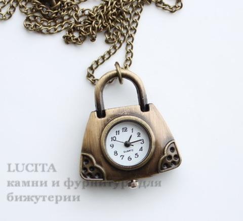 """Часы на цепочке """"Сумочка"""" (цвет - античная бронза) 40х33 мм"""
