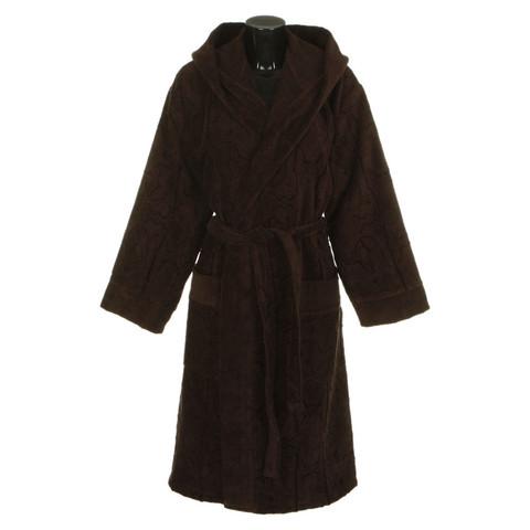 Элитный халат велюровый Logo с капюшоном коричневый от Roberto Cavalli