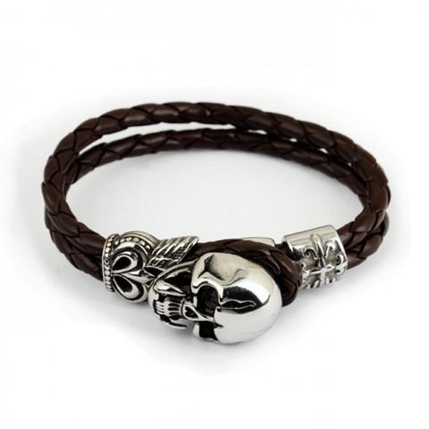 Мужской браслет из плетёной кожи с черепом из стали с замком-петлёй SteelMan mn00011