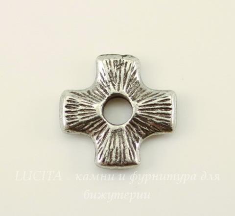 "Элемент под заклепку TierraCast ""Крест"" 11х11 мм (цвет-античное серебро)"