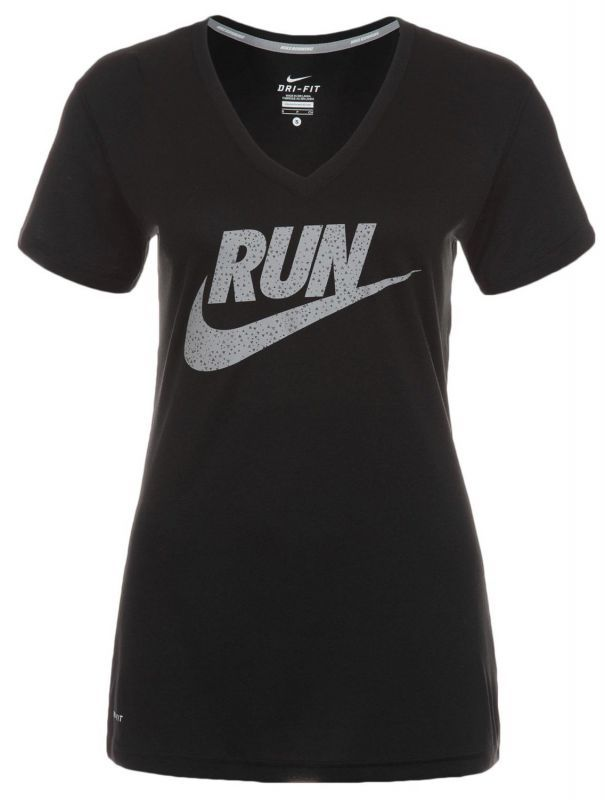 Женская футболка Nike Legend V-Neck SS Run Swoosh (618928 010)