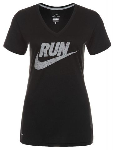 Футболка Nike Legend V-Neck SS Run Swoosh (WOMEN) чёрная