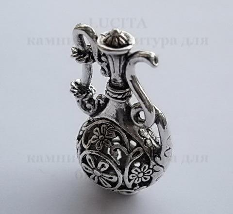 """Подвеска """"Восточный кувшин"""" (цвет - античное серебро) 36х21 мм ()"""