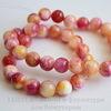 Бусина Жадеит (тониров), шарик, цвет - розовый+желтый+красный, 10 мм, нить