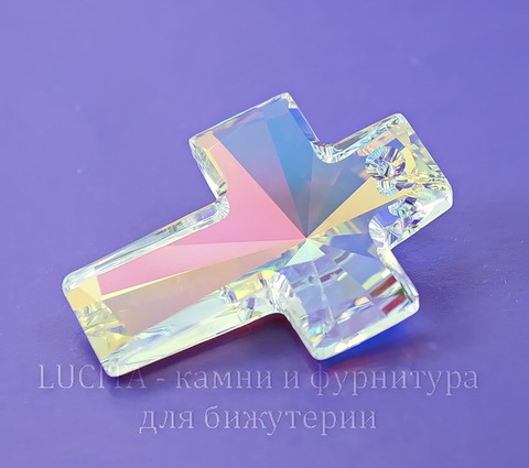 6864 Подвеска Сваровски Крестик Crystal AB (40х30 мм)