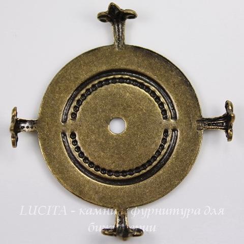 """Сеттинг - основа """"Черепашка"""" для камеи или кабошона 25 мм (оксид латуни) ()"""