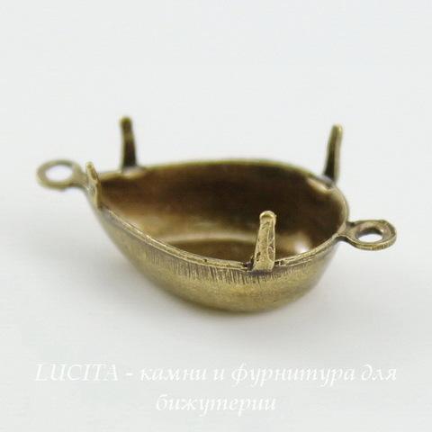 Сеттинг - основа - коннектор (1-1) Капля для страза 14х10 мм (оксид латуни)