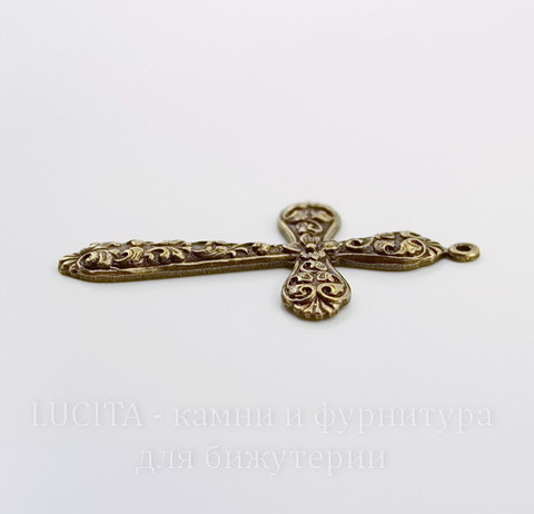 """Винтажный декоративный элемент - подвеска """"Крест в цветах"""" 52х32 мм (оксид латуни)"""