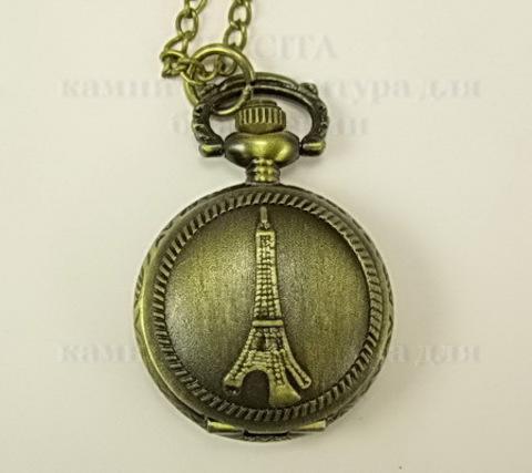 """Часы на цепочке """"Эйфелева башня"""" (цвет - античная бронза) 40х27 мм"""